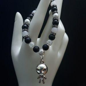 🆕 NWT Handmade Silver black white Alien bracelet